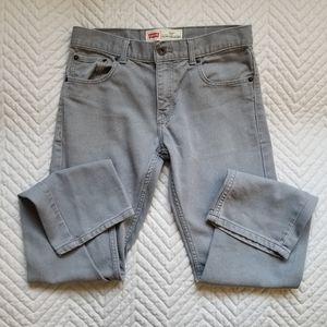 Levi's Boys 16 Men's 28 Grey Trouser 513 Slim